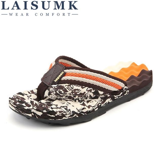 52fa39970 LAISUMK Summer Brand Men Flip Flops Printing EVA Ribbon Non-Slip Soft  Slides Slippers Casual Playa Tongs Sandals Beach Shoes