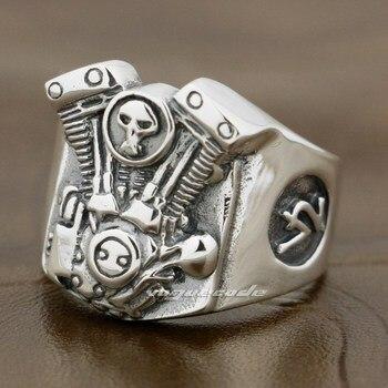 V2 Skull Motorcycle Engine 925 Sterling Silver Mens Biker Ring 8Y009