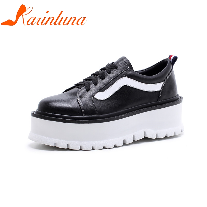 KARINLUNA Mixed Color Cow Genuine Leather Lace Up Flats Flatform Spring Women Cool School Style Fashion Leisure Shoes Woman lace up flatform satin shoes