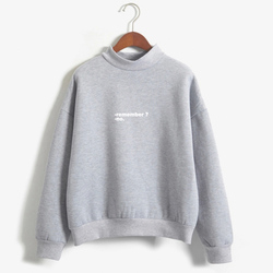 Sudaderas Mujer 2019 Hoodies Women Remember No Letters Printed Pastel Colors Sweatshirt Moletom Feminino Turtle Neck Pullover 3