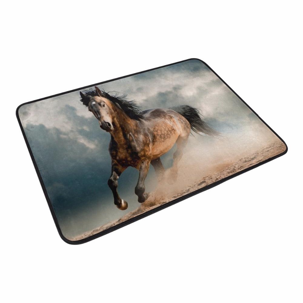 Welcome Floor Mats Personality Design Galloping Horse Entrance Door Mat Bathroom Kitchen Carpets Doormats for Living Room