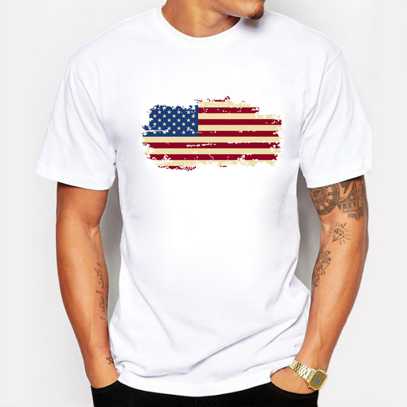 2018 Summer USA Flag Men T shirts 100% Cotton Short Sleeve Fans Nostalgia United States Flag Style T-shirts For Men