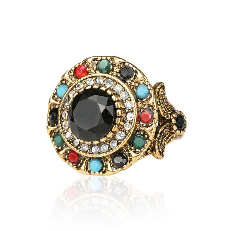 Turkish Jewelry Gold Color Ring Fashion Bohemian Tibetan Alloy Colorful Resin And Crystal Round Rings For Women