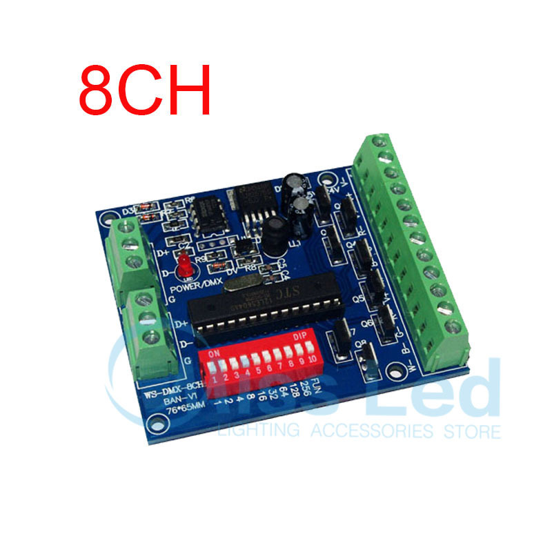 Easy 8CH RGBW dmx512 decoder,8channel 2groups RGBW output,DC5V-24V for LED strip light