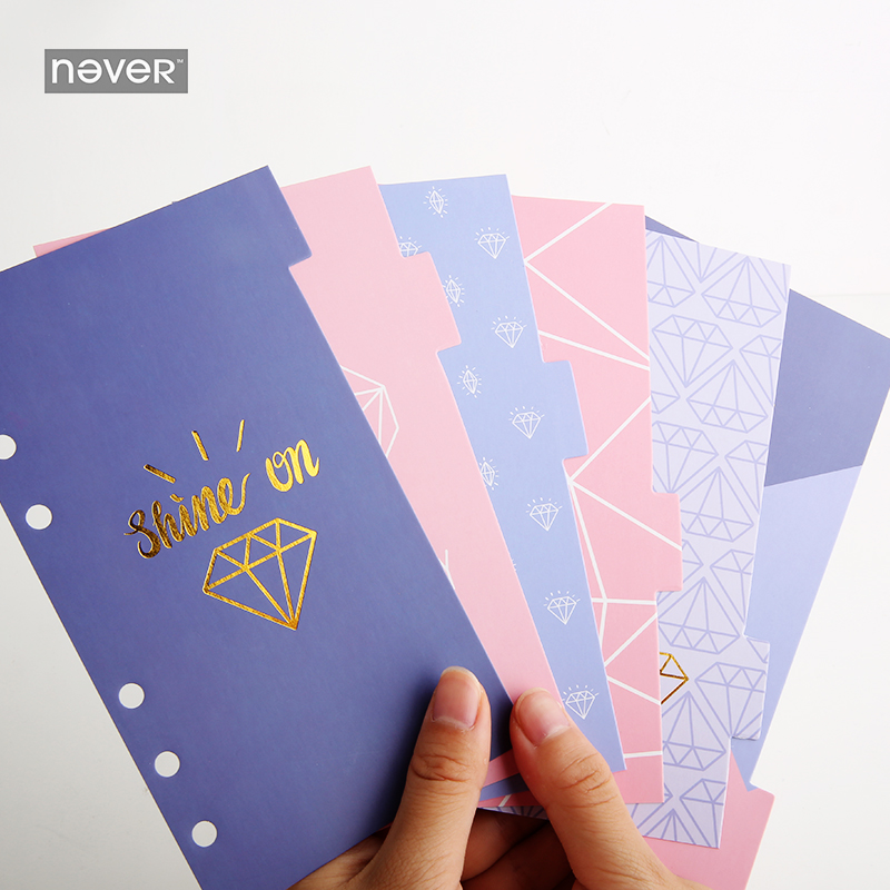 Never Spiral Notebook Dividers Index Pages For Filofax Dokibook A6 Planner Accessories 6pcs 2018 Creative Trend Gift Stationery
