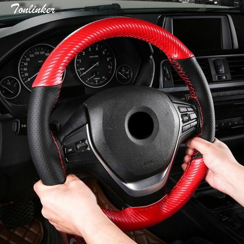 Tonlinker Couro PU + fibra De Carbono Tampa da roda de Direcção Do Carro Universal-38 cm-Car styling Auto Esporte Anti -Slip Cobertura de Volante Cobre