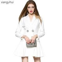 Korean Style White Blazer Dress 2017 Female Long Sleeve Pleated Dress One Piece Suit Jacket Women