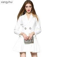 Korean Ladies White Blazer Dress 2017 Female Long Sleeve Pleated Dresses One-piece Suit Jacket Women's Fashion OL Work Dress