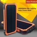 Солнечные Панели черный 2 USB 50000 мАч Power Bank 6 LED лагерь Свет Для iPhone 5 6 6 S Plus Samsung мобильный телефоны