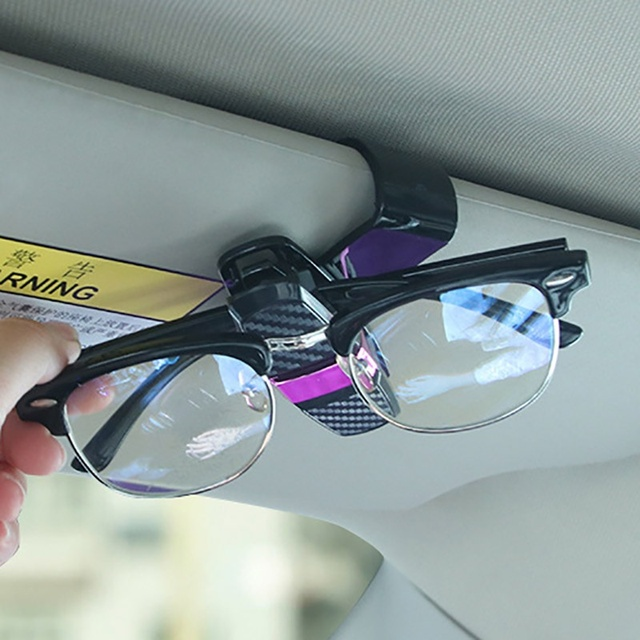 Car Glasses Clips Carbon Fiber Card Pen Holder 180 Degree Rotate Dual Side Clips Sun Visor Vehicle Accessory Car Organizer Clips