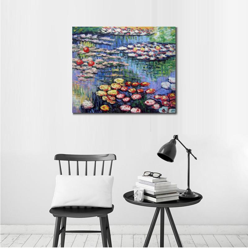 Decoración pintura al óleo lirios de agua (rosa) Claude Monet ...