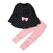 Autumn baby girls clothes set bow long sleeve Dot shirt + leggings outfit baby suit for baby kids girls clothing sets