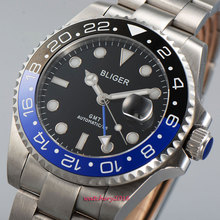 2019 Newest Hot 43mm Bliger Black dial ceramic bezel Luminous hands Sapphire Glass GMT Automatic Movement Mens Mechanical Watch