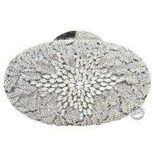 Silber kupplung abendtaschen frauen Luxus Diamant Kristall blume partei Geldbörse Diamant handtaschen kette kristall handtasche SC79