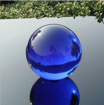 100mm Blue Feng Shui Glass K9 Crystal Ball Sphere Asian Quartz with Base Table Decor Props Ball Home Decoration