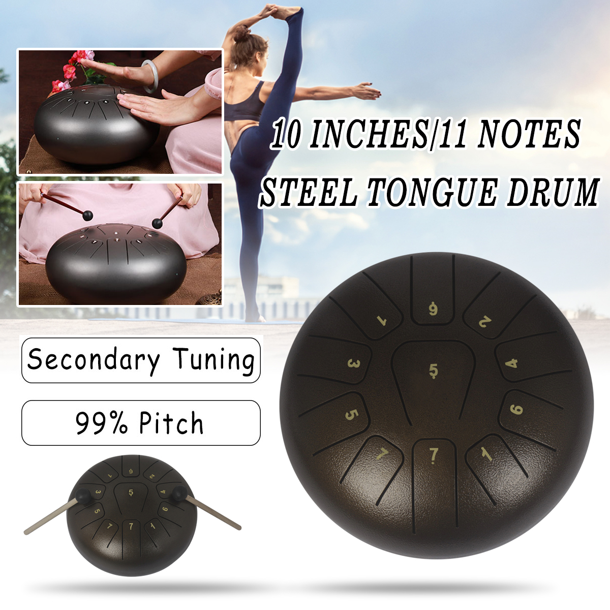 10'' Steel Tongue Drum Handpan Drum D Major 11 Notes Hand Tank Drum With Mallets Storage Bag Instrument Gift 25x25x14cm