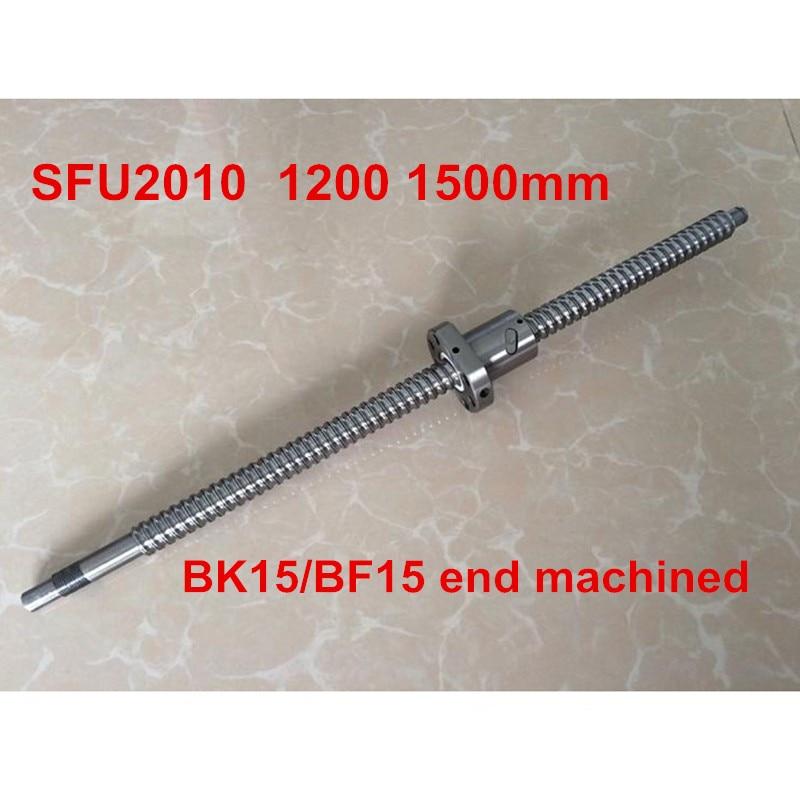 1pc SFU2010 - 1200mm 1500mm ballscrew + ball nut with BK15 / BF15 end machined CNC parts1pc SFU2010 - 1200mm 1500mm ballscrew + ball nut with BK15 / BF15 end machined CNC parts