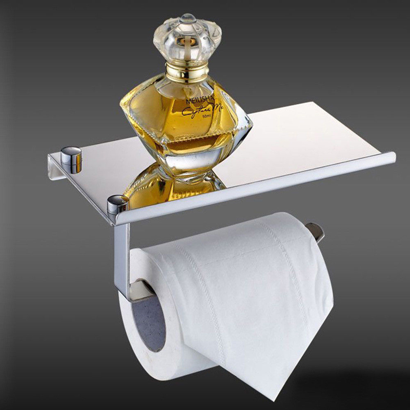 Stainless Steel Anti rust Tissue Holder Wall Mounted Hanging Rack Roll Paper Towel Holder Bathroom Toilet Home Supplies in Paper Holders from Home Improvement