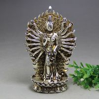 TIbet Buddhism Miao Silver Thousand hand guanyin stands on the lotus Statue