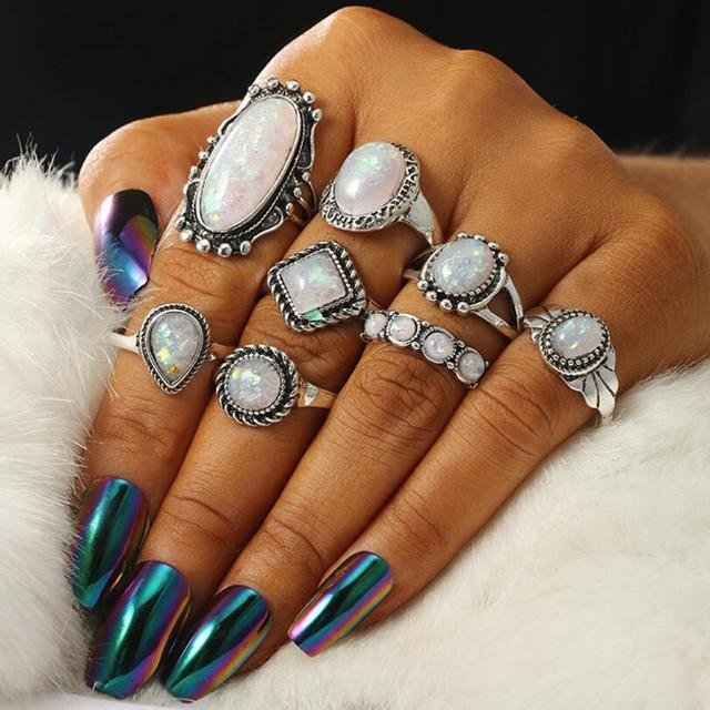 Meyfflin New Vintage Opal Knuckle Rings Set For Women Bohemian Flower Rings Set Geometric Bague Femme Boho Finger Jewelry 4Types