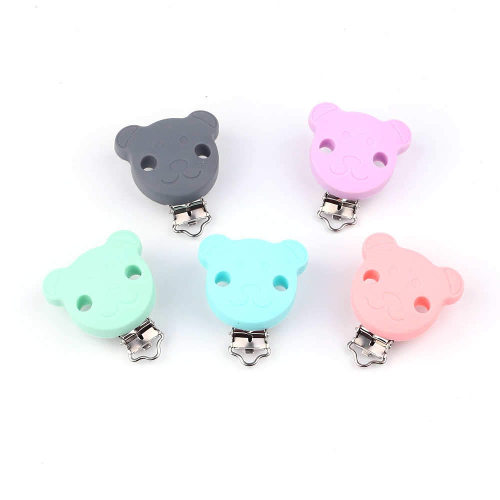 TYRY.HU Cartoon Pacifier Clip Silicone  Baby Teething Clips DIY Bead Clip Accessories Clip  Nipple Clasps Non-toxic Soft