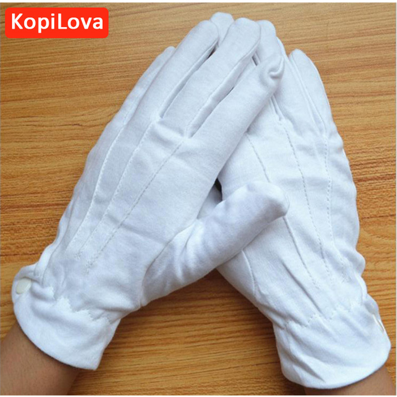 KopiLova 2pair White Cotton Driver Gloves Etiquette Reception Parade Working Gloves Performances Gloves Wholesale Free Shipping