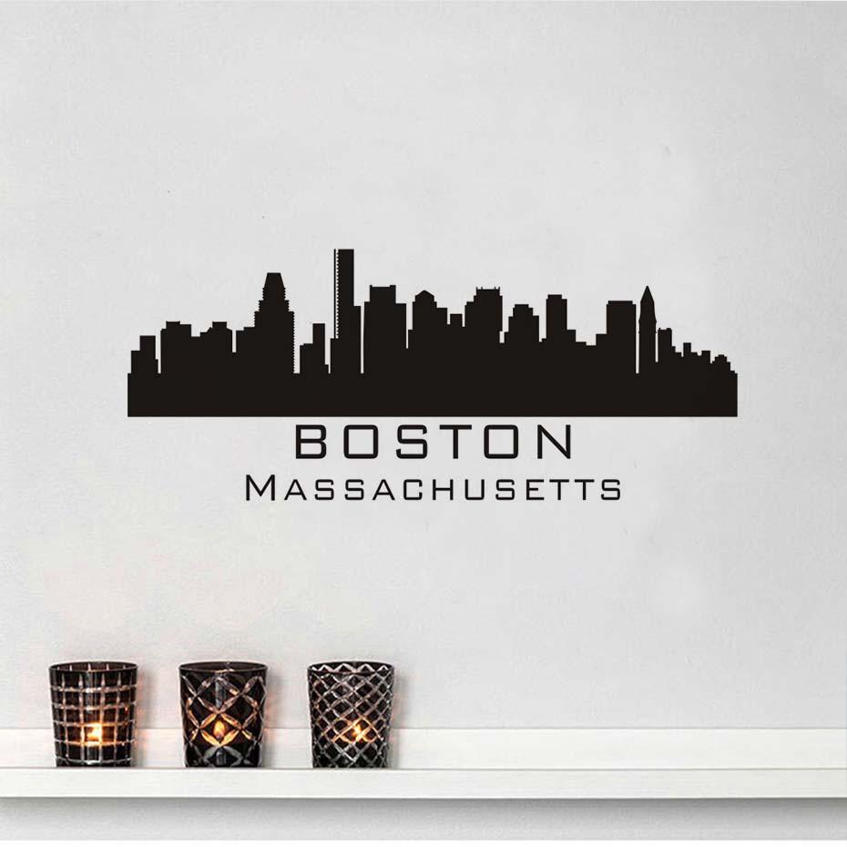 Boston Skyline Wall Decal Diy Removable Art Wall Sticker Mural