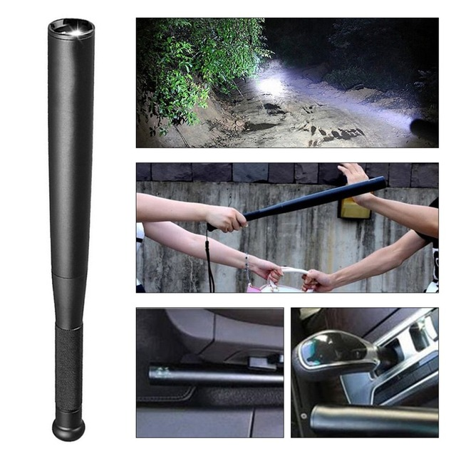 36cm Aluminium Alloy Torch Waterproof T6 Led Flashlight Baseball Bat Baton Emergency Self Defense Tool For Lawman Driver In Supplies From