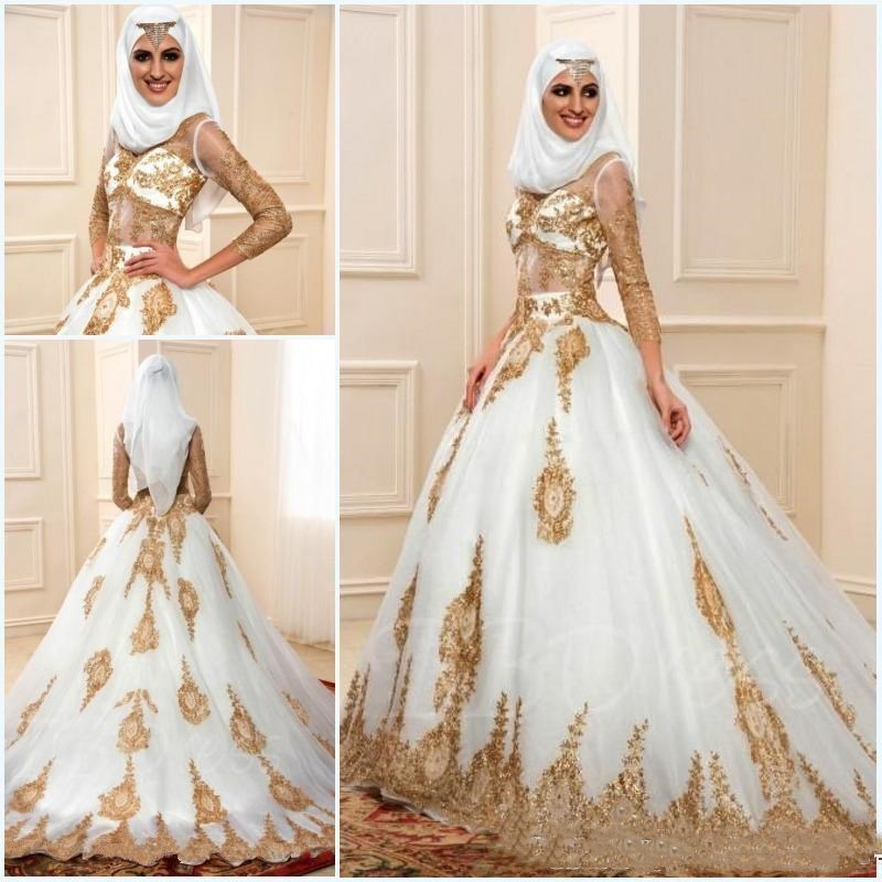 1ac3614613 2019 Newest Muslim Wedding Dresses With Gold Applique Long Sleeves ...