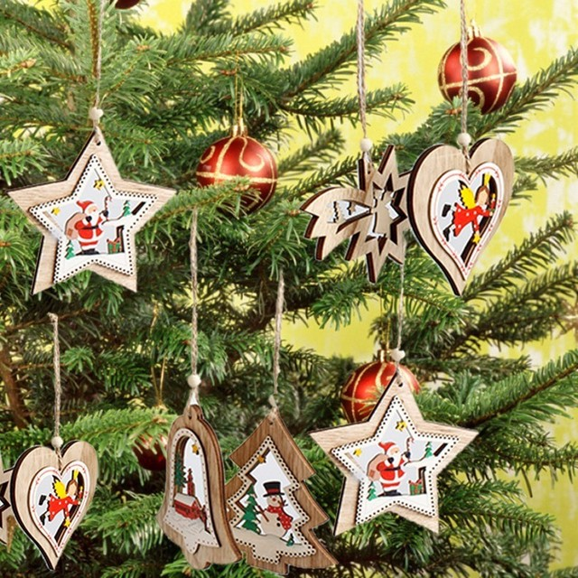 5pcs christmas tree hanging ornaments chinese new year decorations bell tree heart for home xmas party