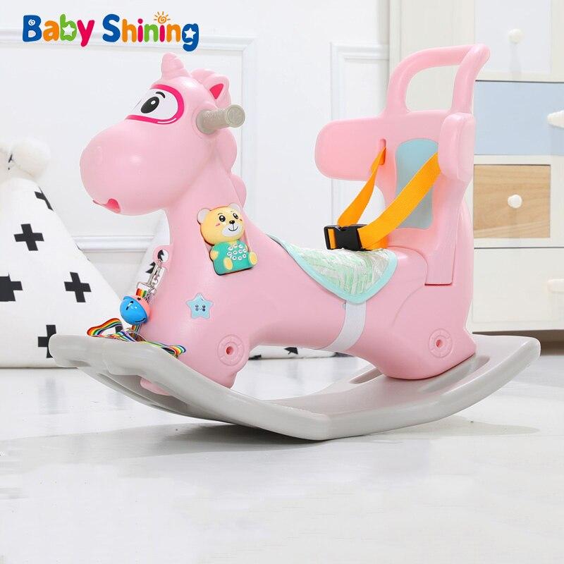 Brilhando De Balanço da Criança Trojan Cavalo De Balanço Do Bebê Walker Brinquedos do bebê Bebê Pequeno Roqueiro Shake De Plástico Bebê Crianças Brinquedos de Presente de Aniversário