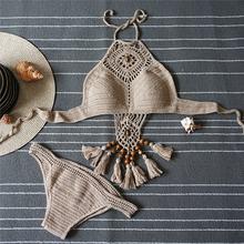 Crochet tejido Borla Sexy Bikinis Mujeres Del Traje de Baño Trajes de Baño Halter Top Bikini Set Beach Swimwear HW242