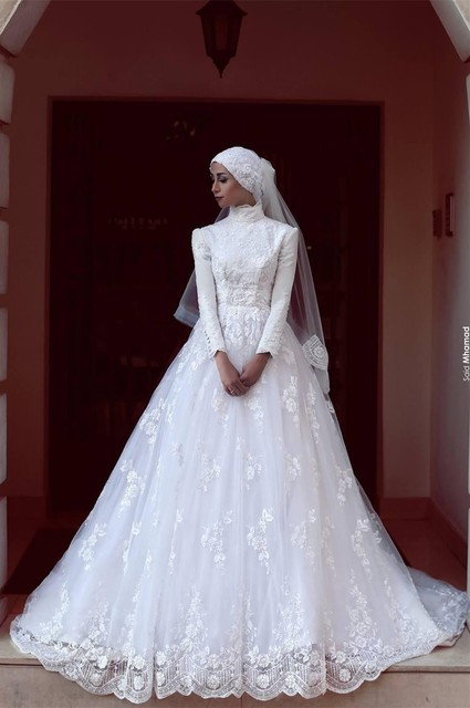 Robes De Mariage 2017 Princess Long Sleeve Muslim Wedding Dress Lace Appliques White Tulle Ball Gowns Vintage Wedding Dress 2016