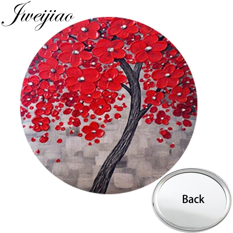 JWEIJIAO Red Flowers Tree Art Photo One Side Mini Pocket Mirror Life Tree Portable Makeup Vanity Hand Travel Purse Mirror