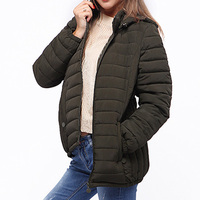 2019 Women Hooded Parkas Thin Casual Padded Winter Coat Quilted Jacket Solid Elegant Loose Plus size Outwears WWM1674