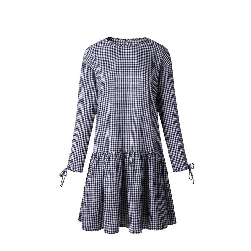Heyouthoney New White Black Plaid Print Linen Dress Women Casual O-neck Long Sleeve Mini Wrinkle Dresses Robe Sundress Vestidos