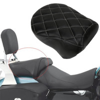 Black Lattice Diamond Motorcycle Rear Passenger Seat Pillion Cushion Pad For Harley Sportster Iron 883 1200