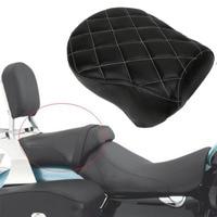 Black Lattice Diamond Motorcycle Rear Passenger Seat Pillion Cushion Pad For Harley Sportster Iron 883 1200