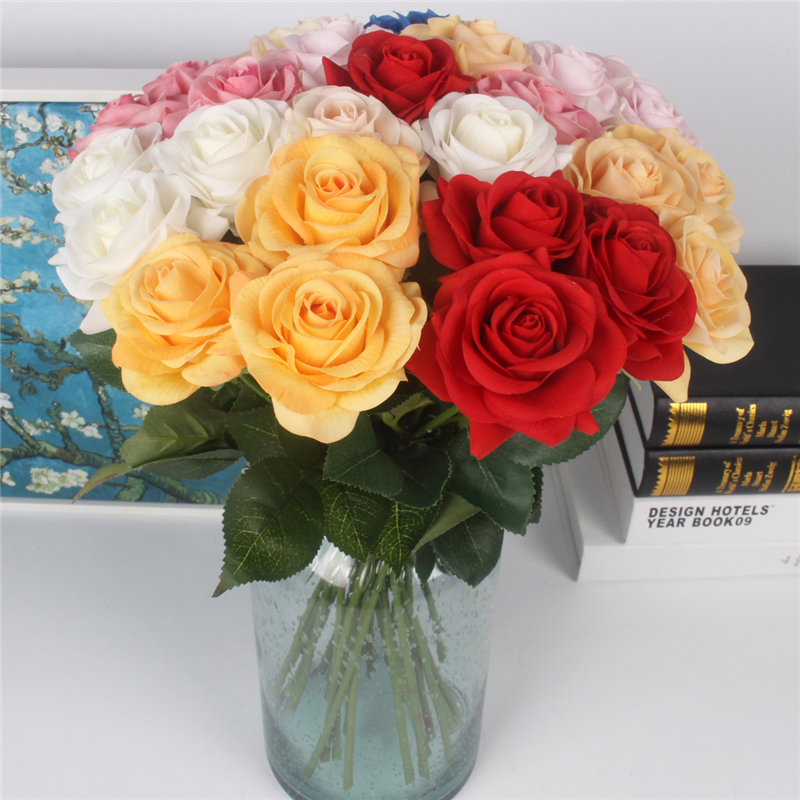 JAROWN Artificial Real Touch Hand Feel Rose Flowers For Valentine`s Day Preparation Wedding Decoration Home Decor (2)