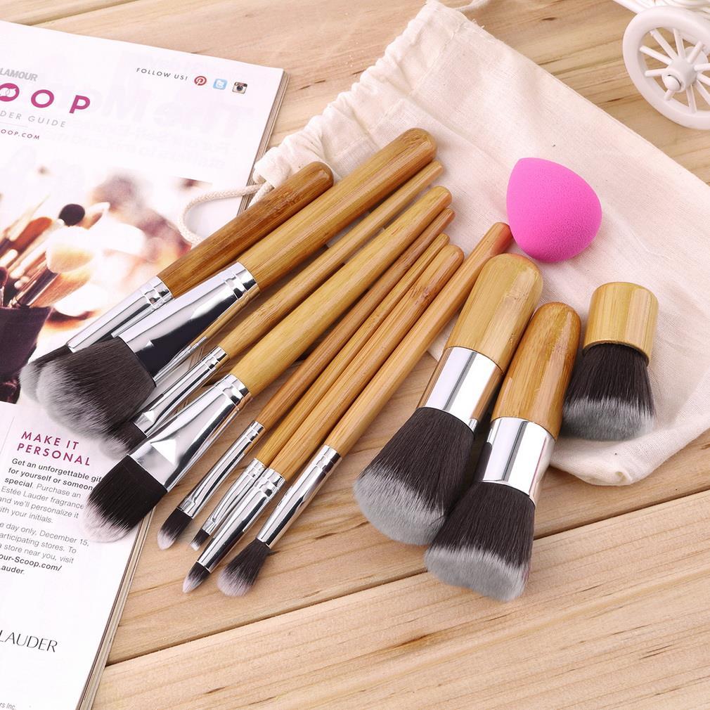 11Pcs Pincéis de Maquiagem Profissional Delineador de Lábios Sombra Fundação Escova + Esponja Puff Concealer Make Up Conjuntos de Ferramentas Essenciais