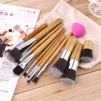 11 piezas pinceles de maquillaje profesional trazador de líneas del labio de sombra de ojos cepillo de la Fundación + esponja Puff corrector hacer herramientas esenciales conjuntos