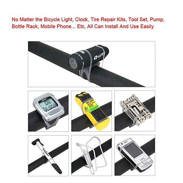 Fita de silicone para bicicleta mtb e ciclismo, suporte para iluminação, lanterna, cinta do telefone, para gravata 2