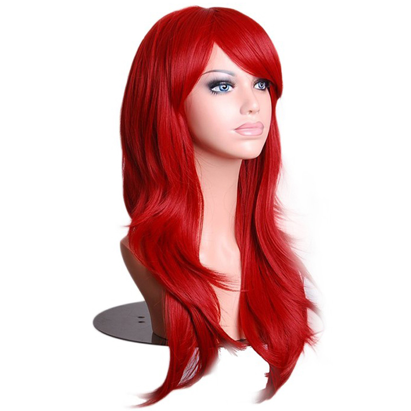Soowee 70cm Long Wavy Red Wigs Fake Hairpieces Synthetic Hair Female Cosplay Wig For Black White Women