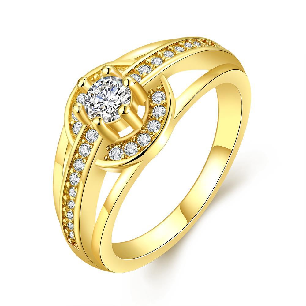 R022-A-8High Quality Nickle Free Antiallergic New Fashion Jewelry 18K Plated zircon Ring
