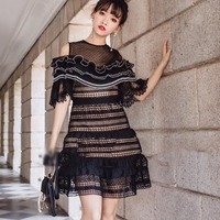 HANZANGL Newest 2018 Spring Summer Black Lace Party Dresses Women Short Sleeve Off Shoulder Mini Casual