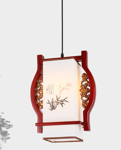 Chinese handmade bamboo pattern wood art Pendant Lights carved white lampshade E27 LED lamp for corridor&stairs&pavilion MF032