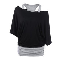 Skew Collar Color Block Black Grey Overlay Asymmetrical Tee Two Tone T Shirt Women Casual Tops Summer 2018 T-shirt(China)