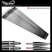6PCS High Quality Carbon Arrow Spine 500 Black Turkey Feathers For Compound Bow Hunting Archery Replaceable
