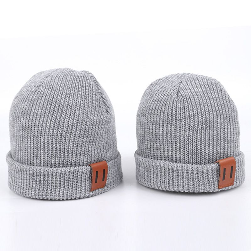 Adult Kids Winter Ribbed Knitted Hat Vertical Striped Parent-Child Solid Color Cuffed Slouchy   Beanie   Cap Faux Leather Patch Ear