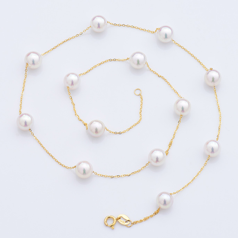 18k AU750 Gold necklace freshwater pearls on chain necklace for women girls Mum lover high luster pearls diameter optional yoursfs 18k rose white gold plated letter best mum heart necklace chain best mother s day gift